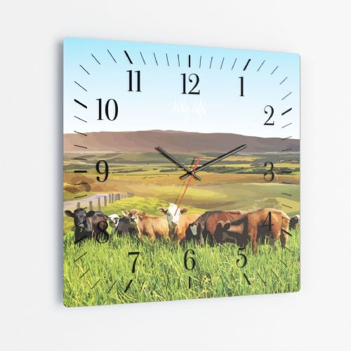 Rolling Hills With Cows Blue - Square Glass Clock